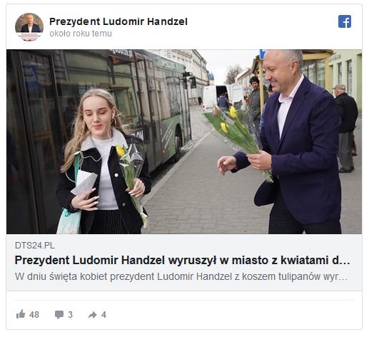 Prezydent Ludomir Handzel wyruszył w miasto z kwiatami dla sądeczanek