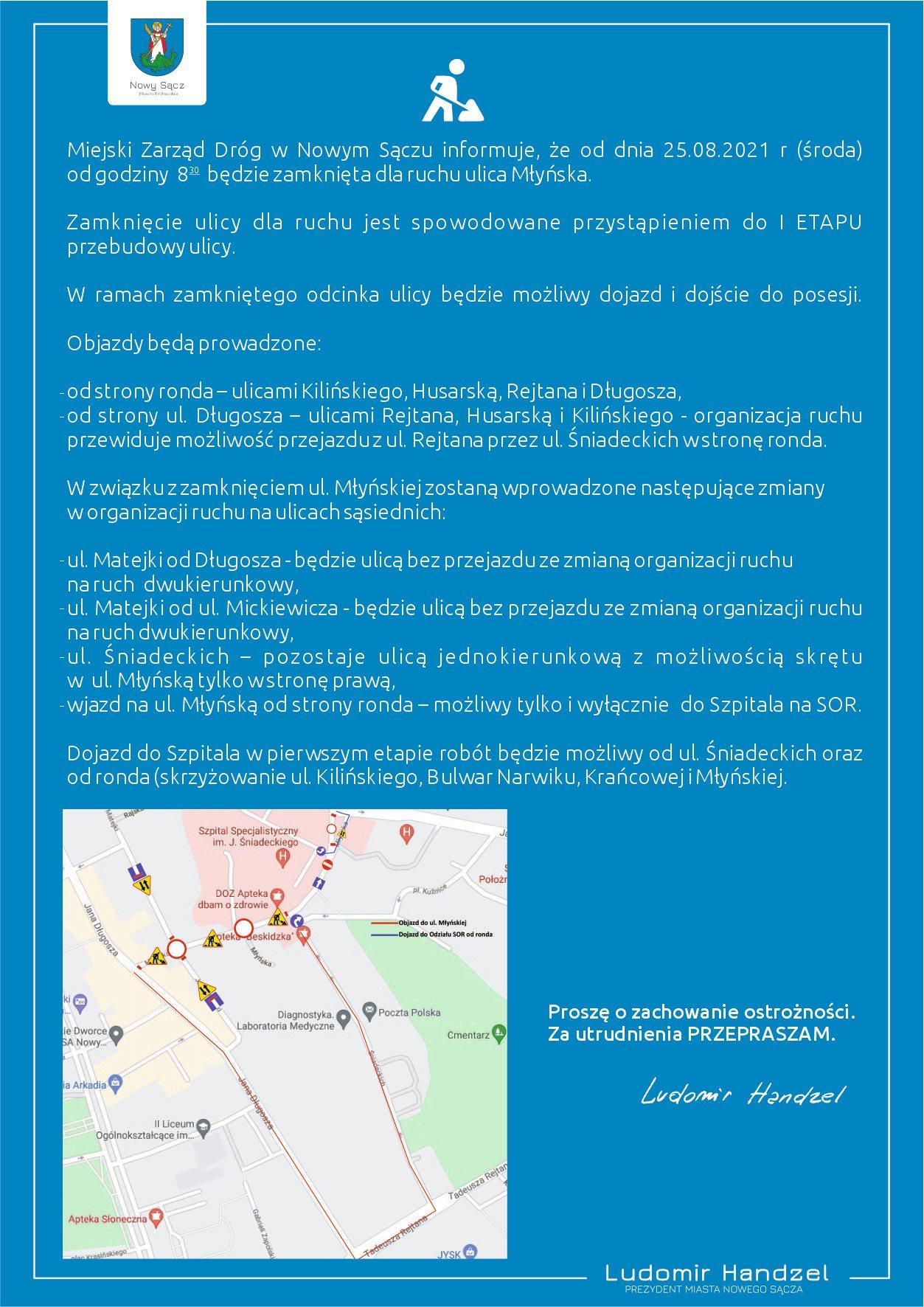 ⛔️Od jutra od godziny 8:30 będzie zamknięta dla ruchu ulica Młyńska.